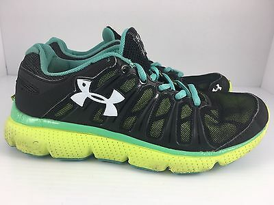 UNDER ARMOUR Lecrown Girls Kids USA 4.5 Black + Neon Athletic Running Shoes