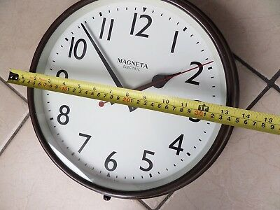 Large Antique British made  Magneta  Electric Wall Clock pat no 571849