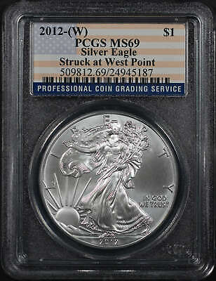 2012-(W) Silver Eagle Struck at West Point PCGS MS-69 Flag Label -177116