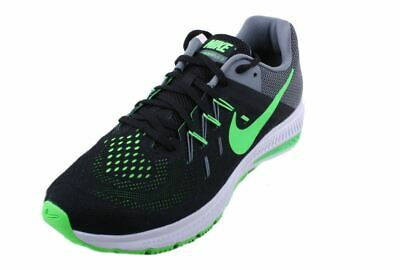 91db6f24a2f4 Nike Zoom Winflo 2 Mens Black Green Strike Cool Grey White Running Sneakers