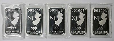 Lot 5 - NJ State Indian Head .999 Fine Silver Art Bar - 1 Troy oz (Sealed)