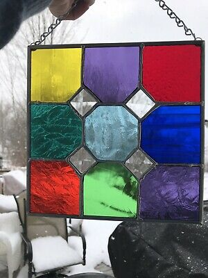 Multi Colored Stained Glass With Sparkly Beveled Glass Inset Squares