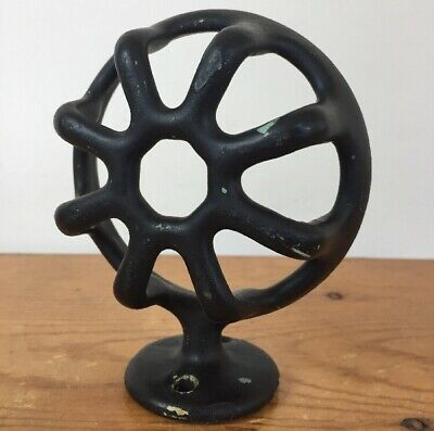 Vtg Antique Black Cast Iron Wall Mount Round Bathroom Soap Holder Cup Basket