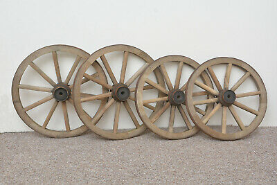 set of 4 vintage old wooden cart carriage wagon wheels wheel - 46 cm / 41 cm