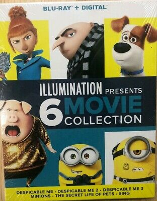 New 6-Movie Collection (Blu-Ray Digital) Despicable Me 1 2 3 Minions, Pets, Sing