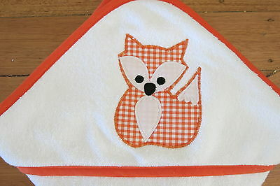 Handmade hooded baby towel with cute fox applique
