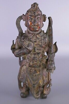 Early Chinese Bronze Polychrome Figure Work Of Art