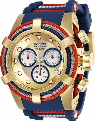 Invicta 27147 Bolt Men's 53mm Chronograph Gold-Tone Gold Dial Blue Rubber Watch