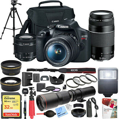 Canon EOS Rebel T7 DSLR Camera w/ 18-55mm IS II + 75-300mm III Dual Lens Pro Kit