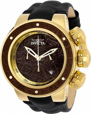 Invicta 28243 Subaqua Men's 52mm Chronograph Gold-Tone Brown Wood Dial Watch