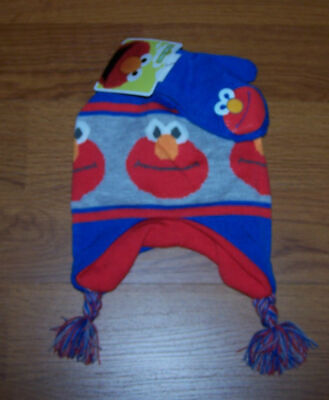 One Size Youth Toddler Boys Sesame Street Elmo  2-Piece Set Hat & Mitten
