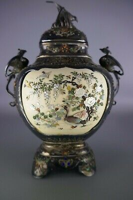 19th/20th Century Signed Japanese Shibayama & Silver Covered Vase