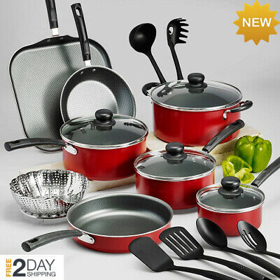 Kitchen Cookware Set Pot Gray Nonstick Frying Pan Stainless Steel 18 Piece Red