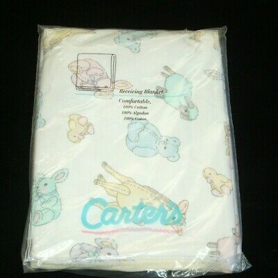 Vintage Carters Pastel Animal Yellow Trim Cotton Knit Baby Blanket Receiving NEW