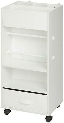 Honey Can Do Rolling Storage Cart with Fabric Drawer, White