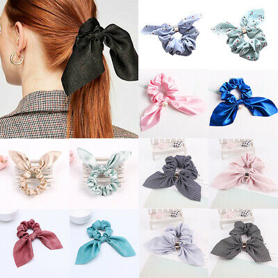 1PC Women Striped Elastic Bow Bunny Ear Hair Band Rope Scrunchie Ponytail Holder