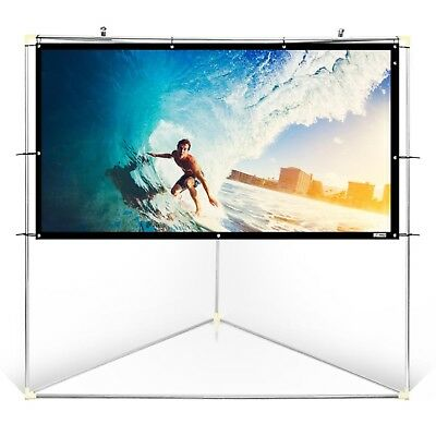 "Pyle 100"" Outdoor Portable White Theater TV Projector Screen w/ Triangle Stand"