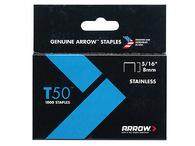 Arrow T50 Staples Stainless Steel 505SS 8mm ( 5/16in) Box 1000 ARRT50516SS