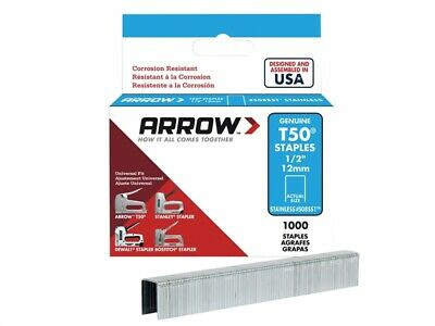 Arrow T50 Staples Stainless Steel 508SS 12mm (1/2in) Box 1000 ARRT5012SS