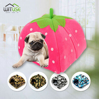 Soft Strawberry Pet Dog Cat Bed Hamster Cozy House With Warm Pad S M L XL XXL F