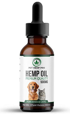 Hemp Oil for Dogs and Cats : 500MG - Anxiety Relief, Hip & Joint Health, Premium