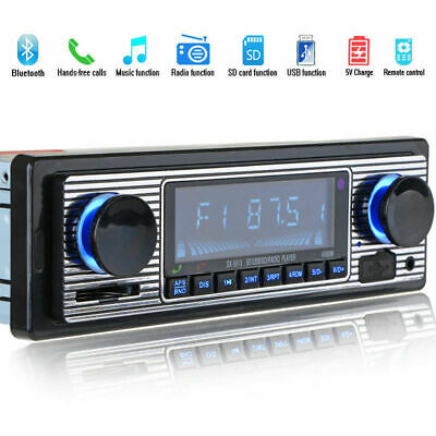 Bluetooth Vintage Car FM Radio MP3 Player USB Classic Stereo Audio Receiver AUX@