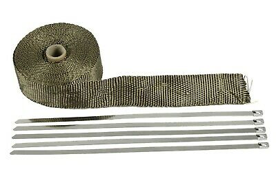 Titanium Exhaust Heat Wrap 1500F 50Mm X 15M + 10 Stainless Steel Ties