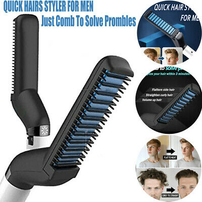 US Men Quick Beard Straightener Multi-purpose Hair Comb Curling  Show Cap Gift