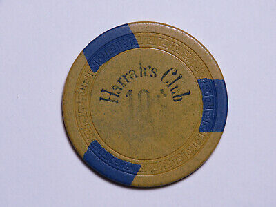 Harrah's Club - Reno Tahoe Nevada - 10 Cent Casino Chip - SM-KEY