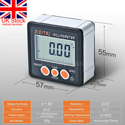 UK LCD Digital Angle Gauge Protractor Inclinometer Gage Accurate Measuring 0-360