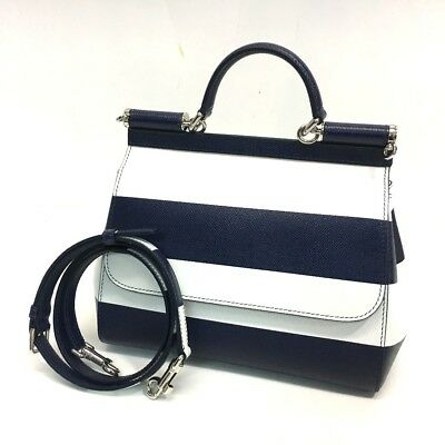 31331c2ca8 AUTHENTIC UNUSED DOLCE GABBANA Sicily Striped Bicolor Hand Bag Black White