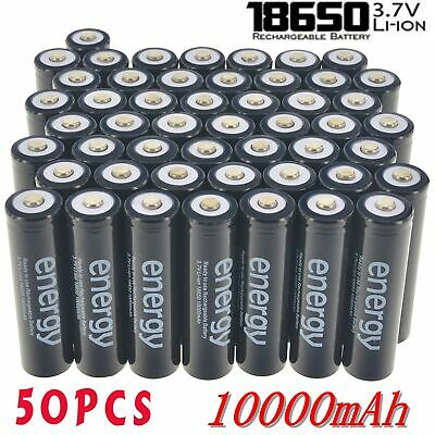50pcs Energy 18650 Battery 10000mAh 3.7v Li-ion Rechargeable Batteries