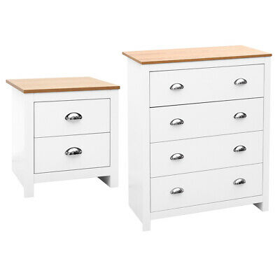 Wide 2/4 Drawer Chest of Drawers Bedside Table Cabinet White Oak Finish Wooden