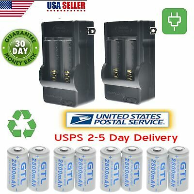 8x CR123A 3.7V 16340 2800Mah Rechargeable Lithium Battery +2x 2 Slot Charger USA