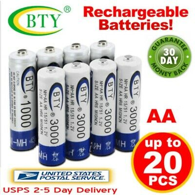 Lot of 4-20pcs BTY AA  Rechargeable Battery Ni-MH 1.2V 3000mAh USPS Fast Ship