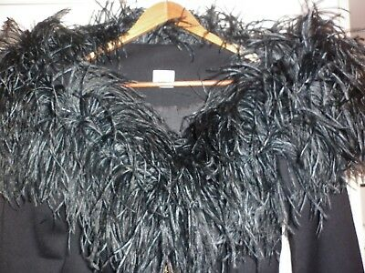 Vintage Covers Ostrich Trimmed Black Wool Jacket Size 10  Excellent Condition
