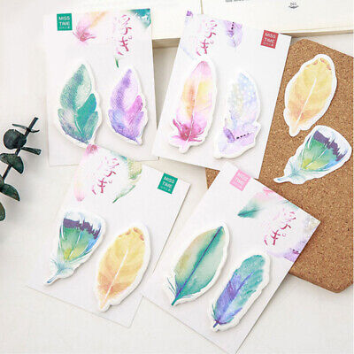 Cute Feather Sticky Notes Kawaii Memo Pads Sticker Bookmark Marker Flags Sticker