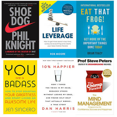 The Chimp Paradox, Shoe Dog,Eat That Frog,Life Leverage 6 Books Collection Set