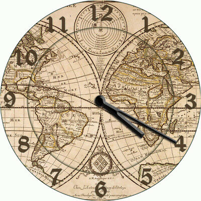NOVELTY WALL CLOCK - Vintage Antique Style World Map Design - Wall Clock