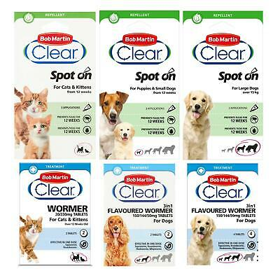 Bob Martin Clear Flea Repel and Wormer Tablets Spot On for Cats and Dogs