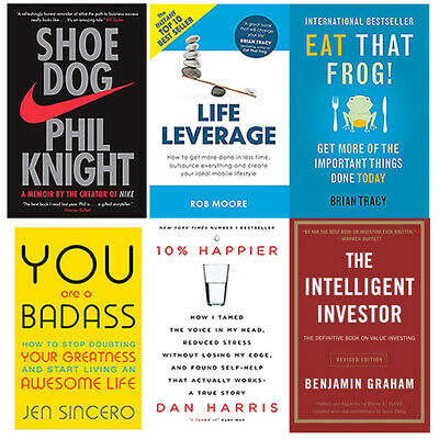 The Intelligent Investor,Shoe Dog, You Are a Badass 6 Books Collection Set NEW