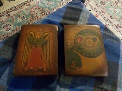 "Vintage BYZANTINE ICON Decoupage Lot Of 2 Greek Wall Art Plaque 4"" X 5.5"" VG !"