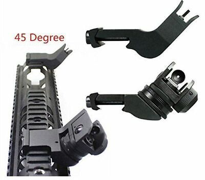 Premium 45 Degree Flip up Front Rear Sight Set Aperture Fit Picatinny Weaver