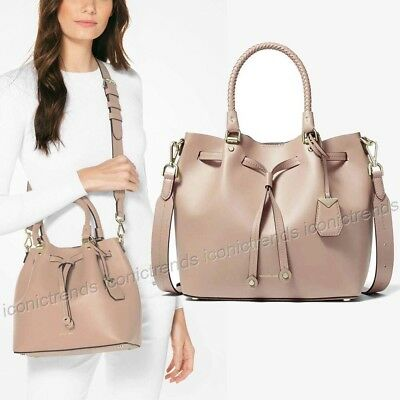 c30fcb73a0 NWT🌼 398 Michael Kors Blakely Medium Leather Bucket Tote Bag Truffle Beige  Gold
