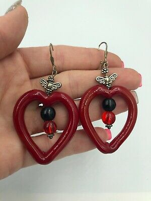 Stunning 925 Sterling Silver Large Red Glass Bead Dangle Earrings ** #681