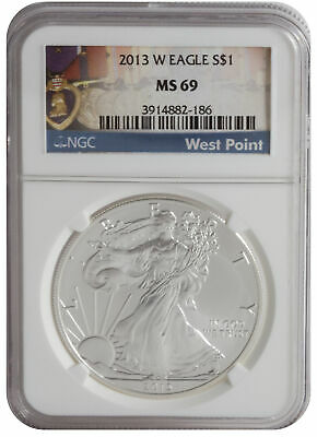 2013-W 1oz Burnished American Silver Eagle MS69 Mint Label NGC