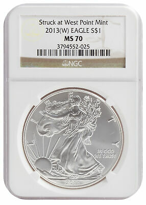 2013(W) 1oz American Silver Eagle MS70 NGC Brown Label