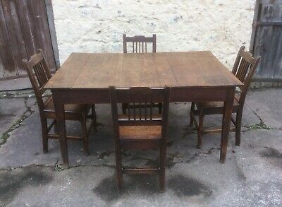 Antique 19th Century Oak Plank Top Kitchen Table and Four Oak Dining Chairs