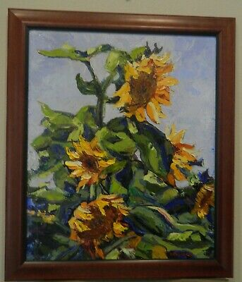 "Impressionism Oil Fine Art. Sunflowers in the wind. Ducuron artist 24""x20"" Canva"