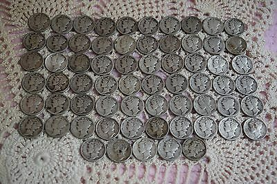 65 Pieces 1917-1945 Winged Liberty Mercury Dimes 90% Silver Value $6.50(#4)
